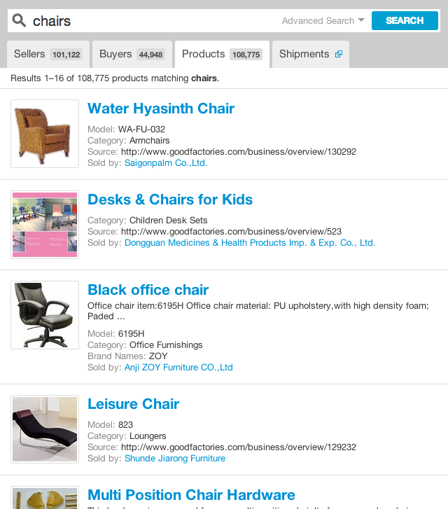 Product Search for chairs