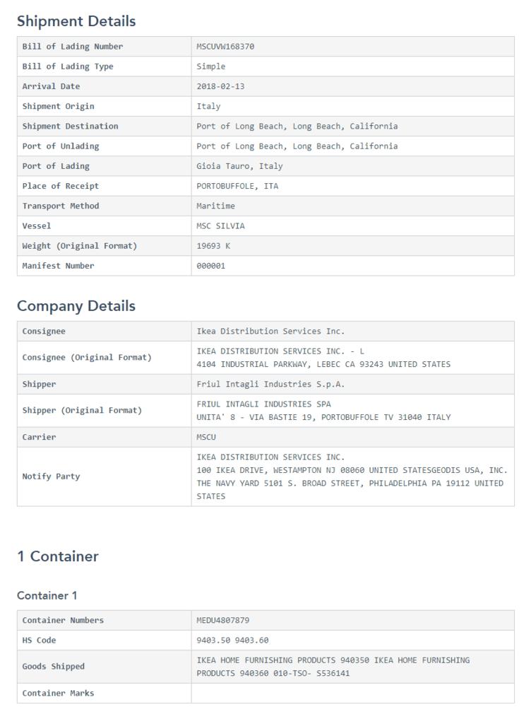 Raw Shipment Record